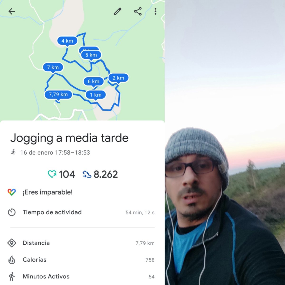 Haciendo méritos para que la @OMS_Ofic me felicité mediante #GoogleFit una vez más, por hacer deporte. ;) Mañana más!  Cada día recuperando un poquito más ... Vuelvo a hacer el recorrido largo con 3 #rompepiernas y gran altitud en menos de una hora. #Mañanarepito #Deporte #Moaña