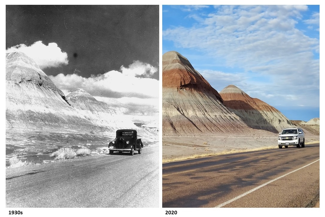 Compare the Tepees in the 1930s and the same spot in 2020 (taken last month). (hl) #TBT #ThrowbackThursday #history #FindYourPark #EncuentraTuParque #PetrifiedForest #NPS #nationalpark