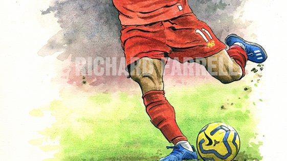 Mo Salah line & wash original art currently on eBay #LiverpoolFC #Salah #YNWA #Klopp #illustration