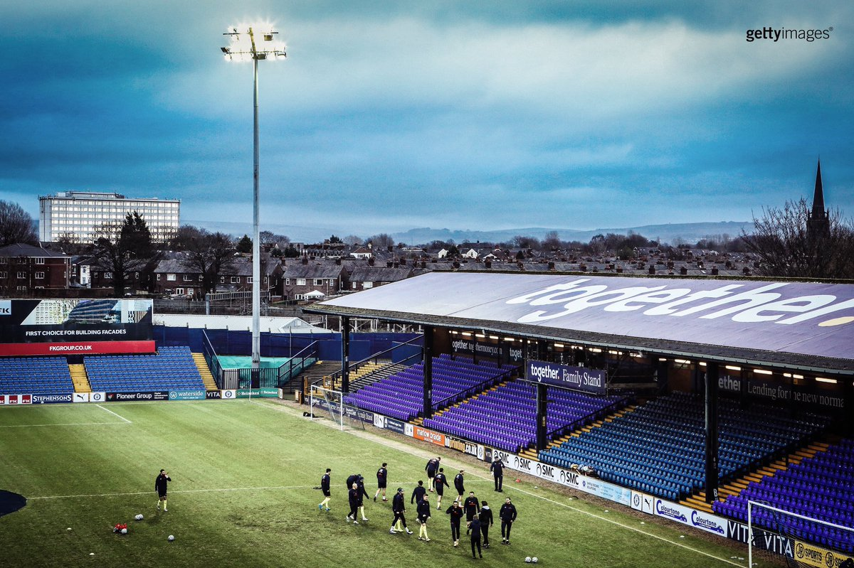 A general view inside Edgeley Park as players of Stockport County warm up.  Stockport 1-2 Notts County (#FATrophy)  #stockportcounty #football #gettysport