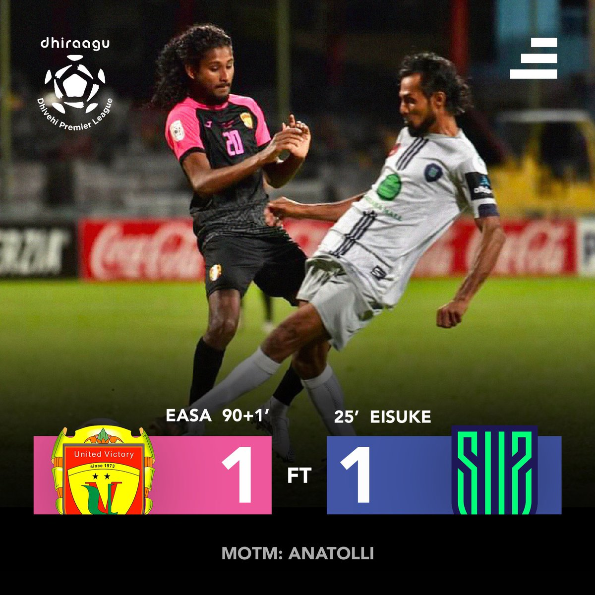 Dhiraagu Dhivehi Premier League 20/21  MATCH 24  Points shared, AGAIN.  MOTM: Anatolli  . . 📷 FAM . . #sidibari #sports #football #maldives #dhivehifutuboalha #fam #ddpl #UVSUS