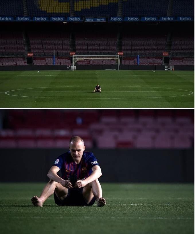 🌟 INIESTA 🌟  Ces images magnifiques d'un milieu magicien resté assis durant des heures sur la pelouse du Camp Nou, après son dernier match sous les couleurs du Barca 🙏🏻   C'est aussi ça le football !   #Iniesta #Football #Barca #Barcelona #Respect #CampNou