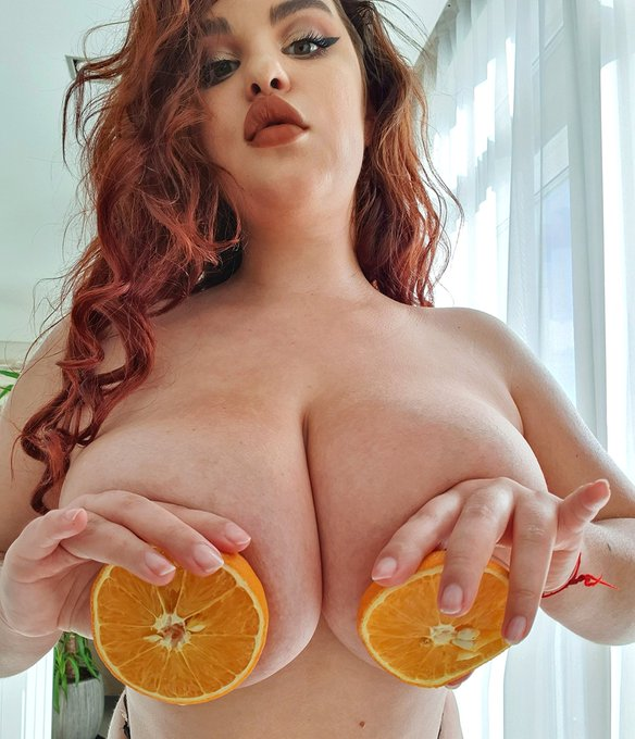 1 pic. oh my nipples are the same size as these oranges, damn ...🍊🍊🍊 Follow my OF to see it .. is it