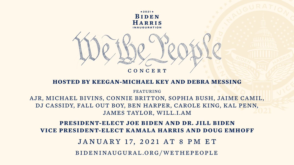 It's a virtual inauguration concert and we can all join! I'm so excited about this. Let's celebrate together tomorrow night at the We The People Concert in anticipation of Wednesday's @BidenInaugural. Time to party down! #Inauguration2021
