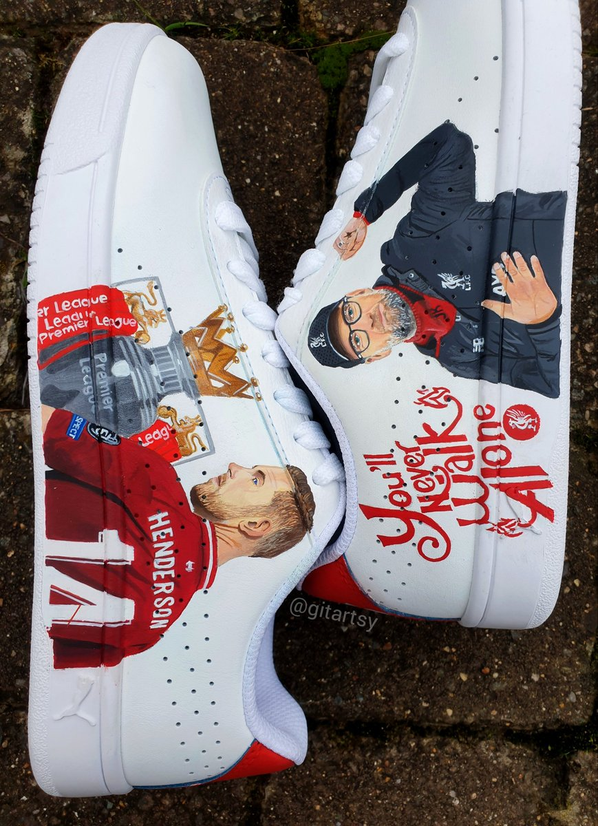 @JHenderson @LFC My hand painted @Nike shoes 🖌🎨 #gitartsy #jordanhenderson #klopp #customshoes #nikeUK