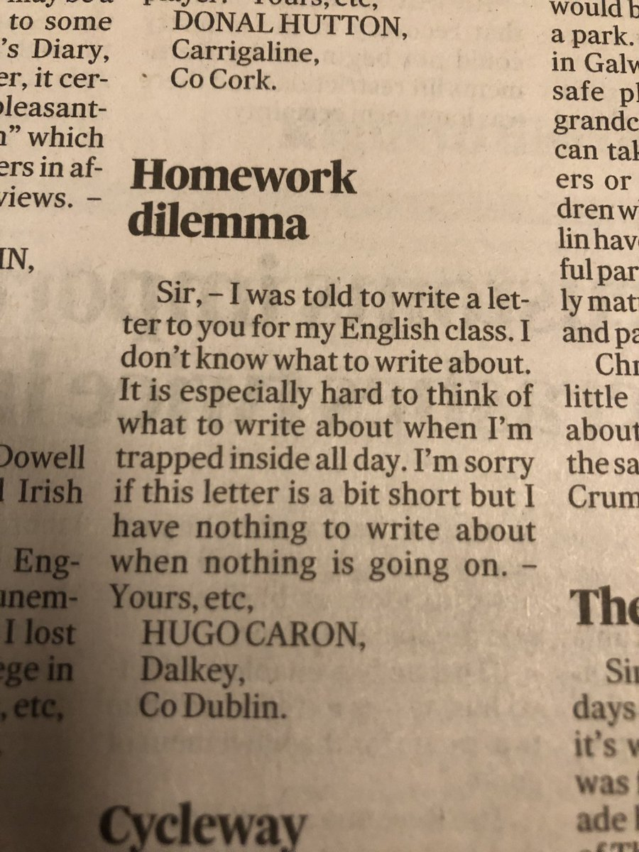Replying to @FrankmcnallyIT: From today's @ITletters. As a daily columnist on the same page, I feel his pain.