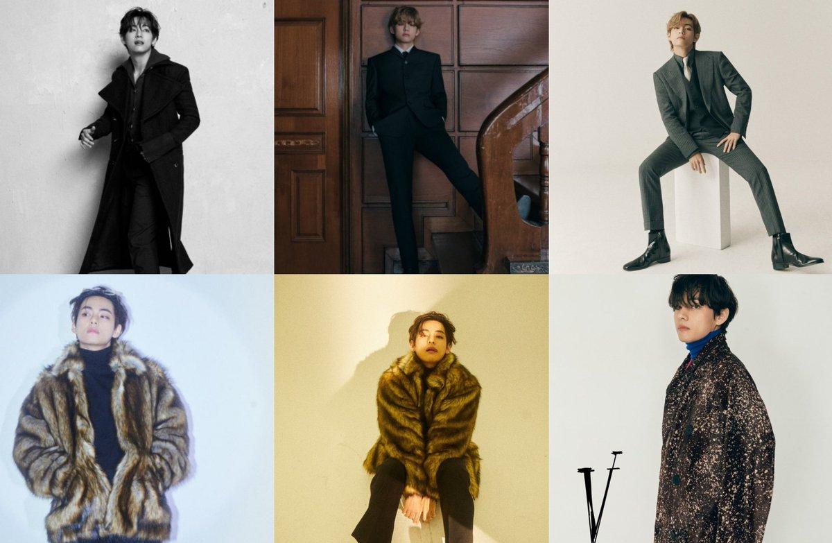 """al combinar artículos V, quien es considerado el hombre más guapo por su apariencia atractiva, es capaz de expresar su competencia como """"creador de tendencias"""" con su sentido de la moda.  🔗   @BTS_twt #BTS #BTSARMY #방탄소년단 #Taehyung"""