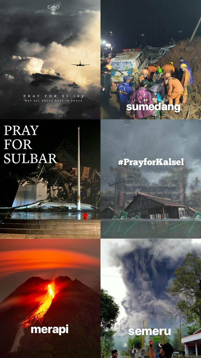 all in one week💔 #SJ182 plane crash, landslide in sumedang, earthquake in west sulawesi, massive flood in south kalimantan, and merapi & semeru eruption. i'm sending my prayers and condolences to all the people affected💔 #prayforindonesia