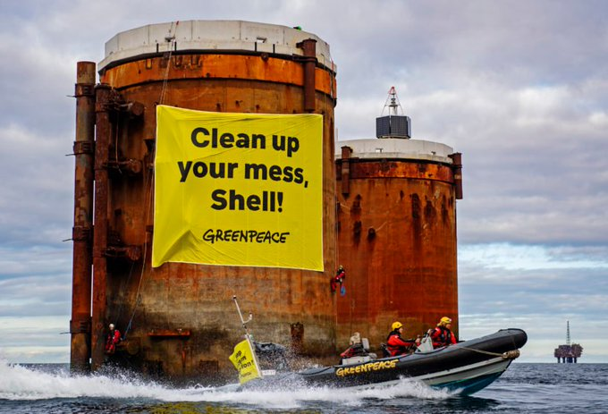 .@Shell must clean up its toxic mess in the North Sea: around 640,000m³ of oil-contaminated water and 40,000m³ of oil-contaminated sediment, containing more than 11,000 tonnes of crude oil in the Brent Field Gravity Based Structures!