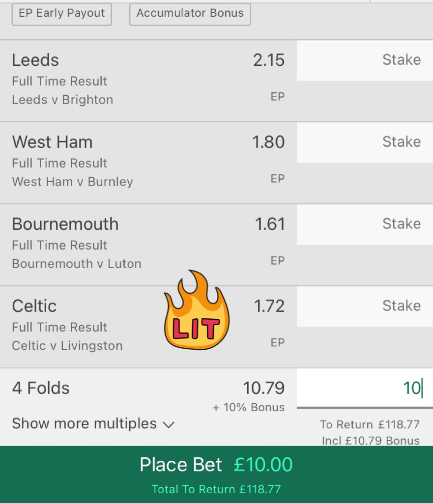 Saturday afternoon acca: ⚽️🤑    West Ham   Leeds   Bournemouth   Celtic    All to win ⬆️ 10/1!! 👀  #footballtips #footballacca #soccerpicks #gamblingtwitter #freepicks #bettingtips #Lockdown #WHUBUR #LEEBHA #CELLIV #SaturdayVibes #saturday #Lockdown3 #Bournemouth #PremierLeague