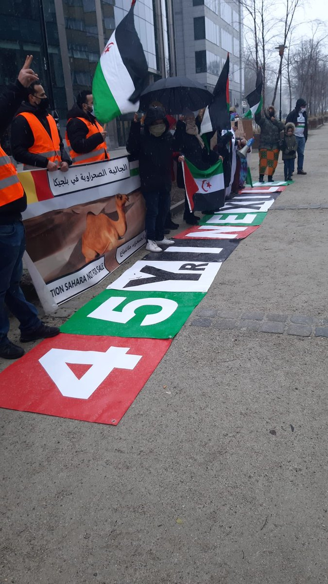#Saharawi diaspora in protest today at #place_la_loi in #Brussels near @EUCouncil & @EU_Commission. Demanding the #EU to stop funding the #occupation in #WesternSahara & to take responsible actions to allow the Saharawi people to exercise their right to #Self_determination