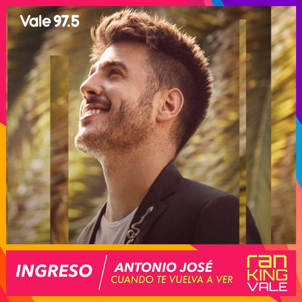 INGRESO | ¡Esta semana recibimos a @AntonioJSMazuec! Tus votos hicieron posible que #CuandoTeVuelvaAVer forme parte del #RankingVale! 💕🎶
