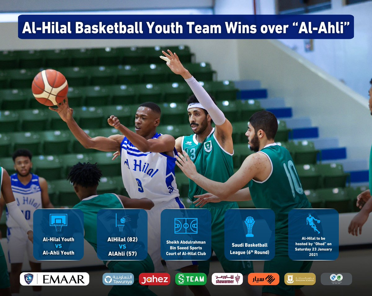 "📃 #AlHilal Basketball Youth Team Wins over ""Al-Ahli"" 🏀 #AlHilal_Infographic 💙"