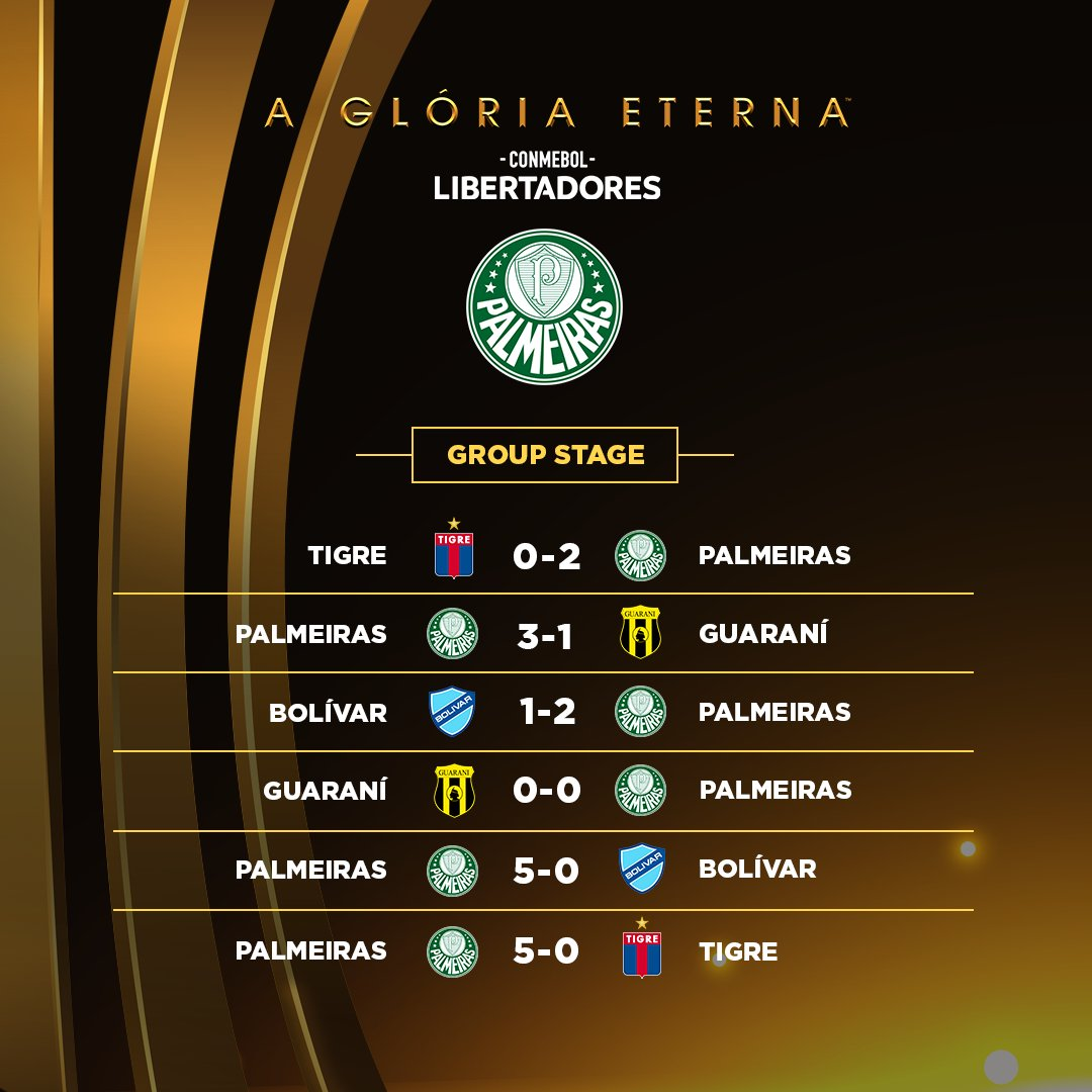 💚🐷 @Palmeiras' 2020 #Libertadores campaign!  🏆 In 1⃣2⃣ matches, Verdão won 9⃣ drew 2⃣ and lost just 1⃣ while scoring an impressive 3⃣2⃣ goals and conceding just 6⃣!