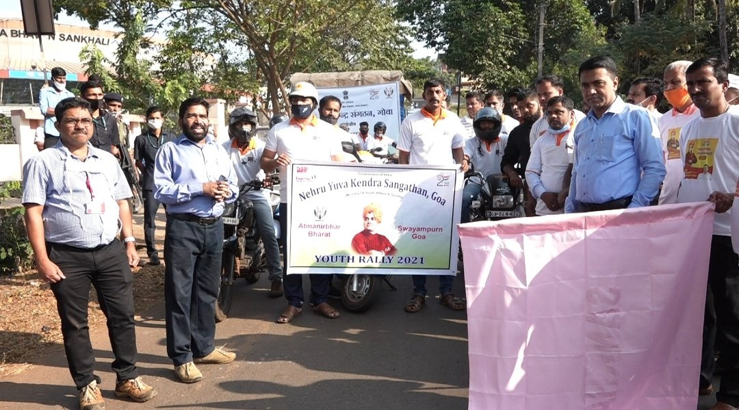 Flagged off the Youth Rally 2021 organised by Nehru Yuva Kendra Sangathan, Goa to spread awareness about the #AatmaNirbharBharat #SwayampurnaGoem programme in Goa. This is a great initiative to create awareness among the youth to promote entrepreneurship.