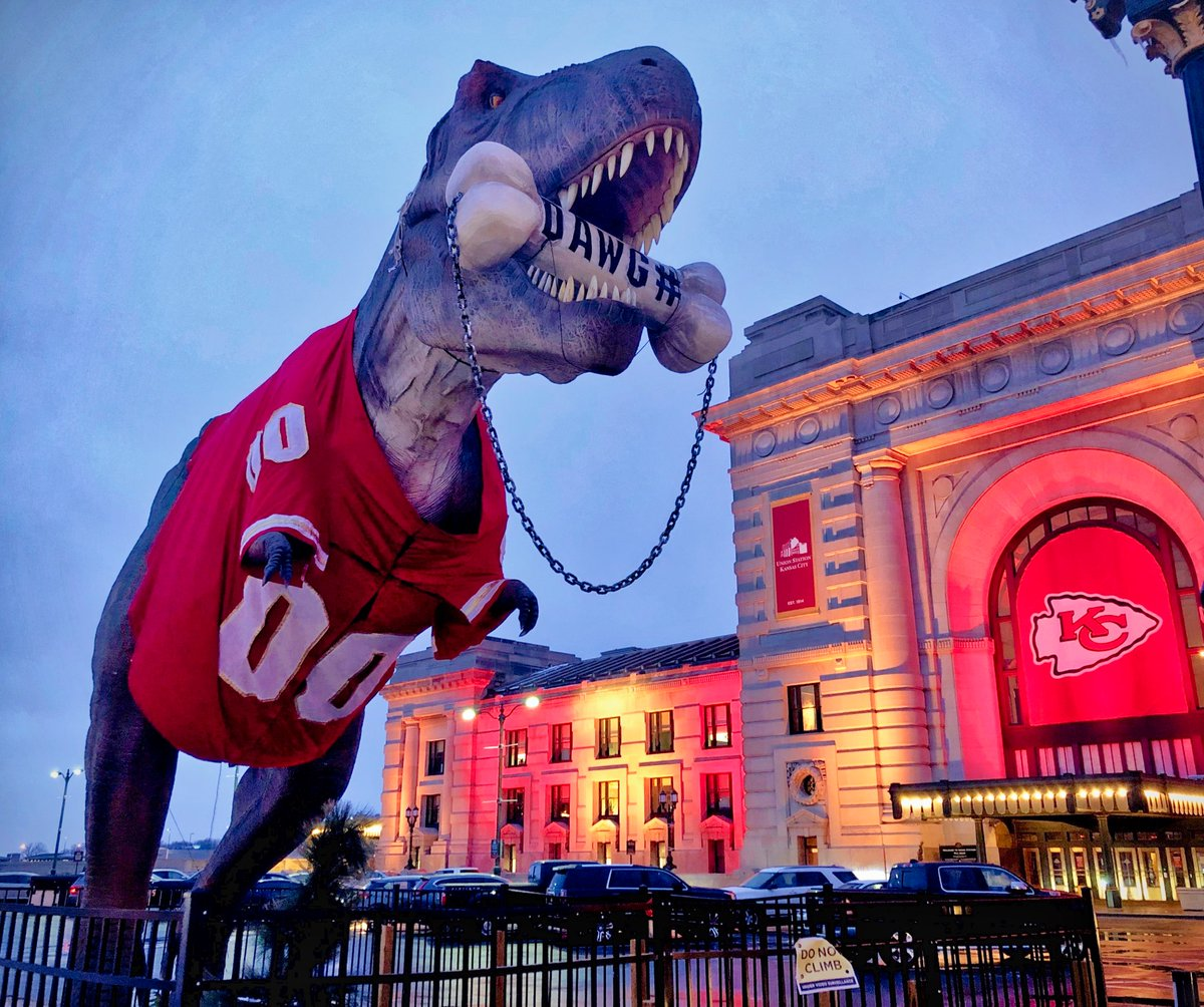 Kansas City's Union Station T-Rex chomping on the Dawg Pound ahead of the Cleveland Browns' visit to Arrowhead Stadium on Sunday.