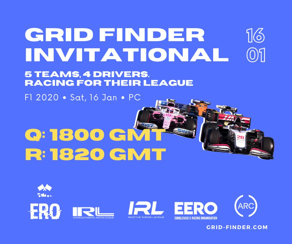 TODAY!! Join us at 6PM UK / 7PM CET for the @GridFinder invitational on PC 5 leagues go head to head with @Scopefielder @lukefrankland7 @Justlorenzo__  & @mastarious667 representing us at IRL  Tune in at https://t.co/T74KaFHurJ  #InvictusRL #F12020 https://t.co/9FRAh8NhqD