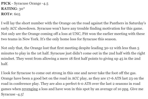 Saturday's Free NCAAB Pick: Syracuse Orange -4.5  #FreePicks #CollegeBasketball #Syracuse #Pittsburgh