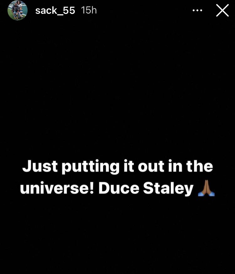 """Brandon Graham on Instagram  """"Just putting it out in the universe! Duce Staley 🙏🏾""""  Darren Sproles on Instagram  """"Go ahead and let Duce Staley run the show!""""  Current Eagles and former Eagles showing support for Duce"""