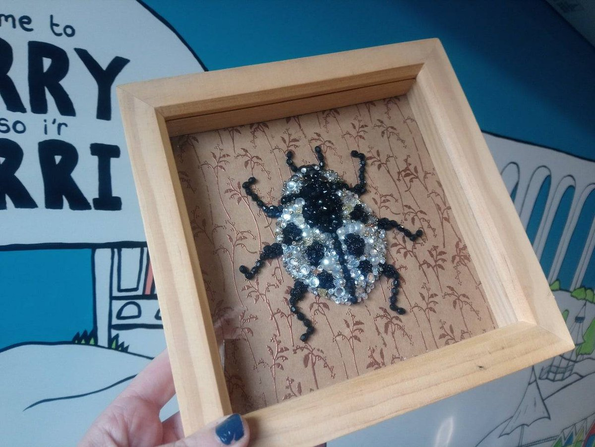 Looking for a unique gift? ❤️ I loved making this item.   This ladybird is made from recycled jewellery, beads, gems and a range of different embellishments. 🐞   Only one available via   #Handmade #Unique #Ladybird #Framed #Barry #ShopLocal
