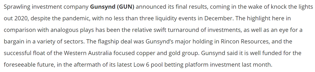 Sprawling investment company @GunsyndPlc announced its final results, coming in the wake of knock the lights out 2020, despite the pandemic, with no less than three liquidity events in December @ZaksTradersCafe   @sportschris comments #GUN in Tweet below