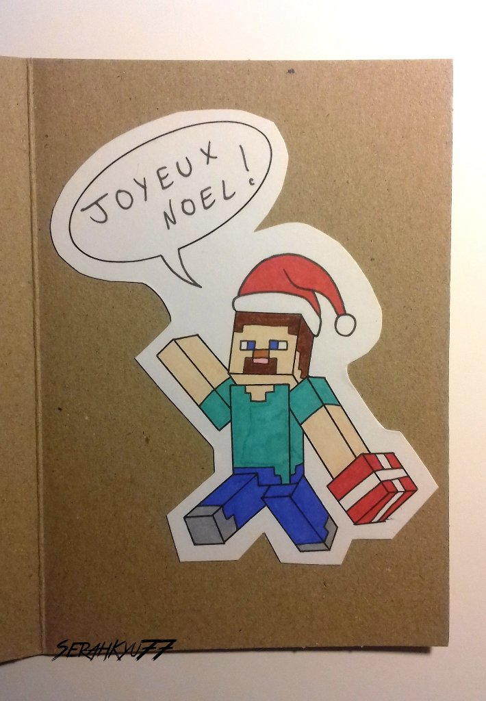 Forgot to post those little drawings, for my brothers's Christmas cards ^^  #Minecraft #AmongUs #amongusfanart #Christmas
