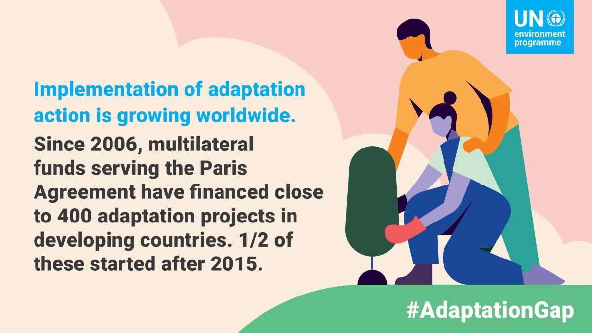 Implementation of adaptation action is growing.  But of over 1,700 adaptation initiatives surveyed, only 3% reported bringing real reductions to climate risks posed to the communities where the projects were being implemented.  More on the #AdaptationGap: https://t.co/WH7u1pNxQu https://t.co/a0ILu6SbKr