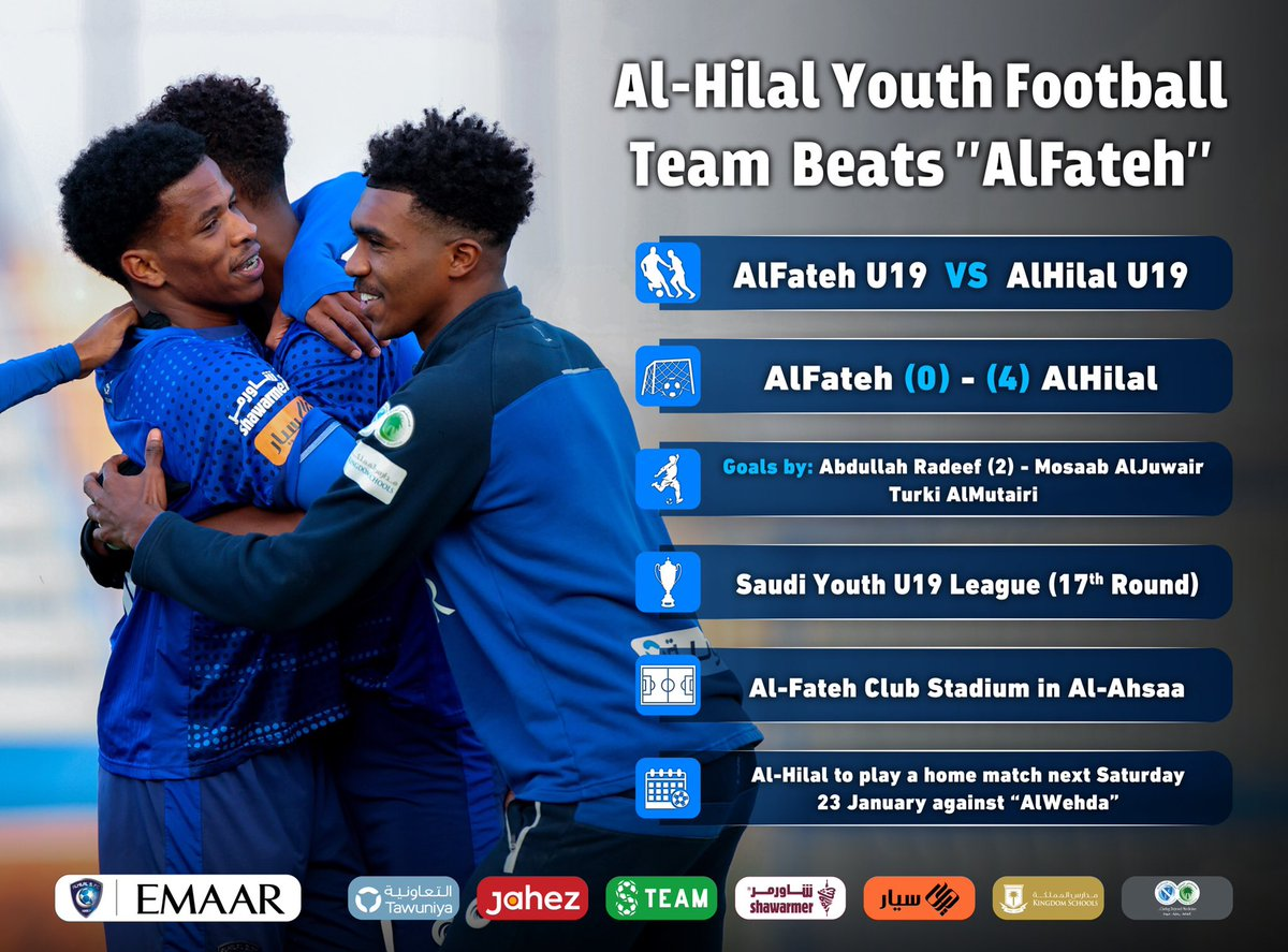 "📃 #AlHilal Youth Football Team  Beats ""AlFateh"", and continues on top of the U19 League 👏🏻⚽️ #AlHilal_Infographic 💙"