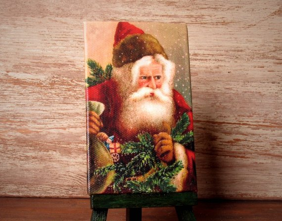 "Miniature #Christmas Canvas ""Vintage Santa Claus"" for Your Dollhouse -   #christmas"
