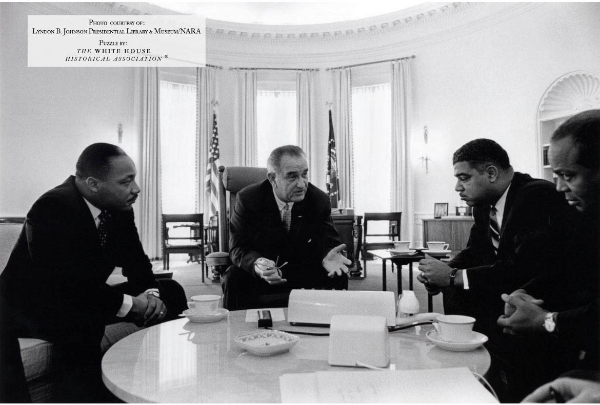 This week's @WhiteHouseHstry SATURDAY PUZZLE features the historic Oval Office meeting between President Lyndon B. Johnson and civil rights leaders – including the Rev. Dr. Martin Luther King, Jr. – on January 18, 1964: Learn More: