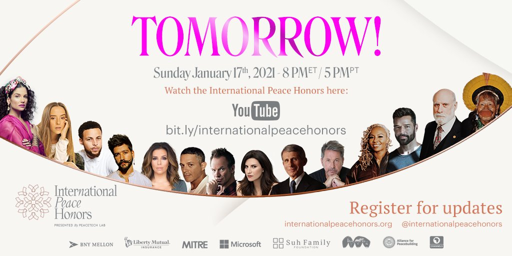 AfP is a proud sponsor of the @IntlPeaceHonors! Mark your calendars and join outstanding global leaders such as #DrFauci, @opalayo, @ricky_martin, @OfficialSting, @vgcerf, @montanertwiter, and more tomorrow at 8pm ET / 5pm PT!   Register here: