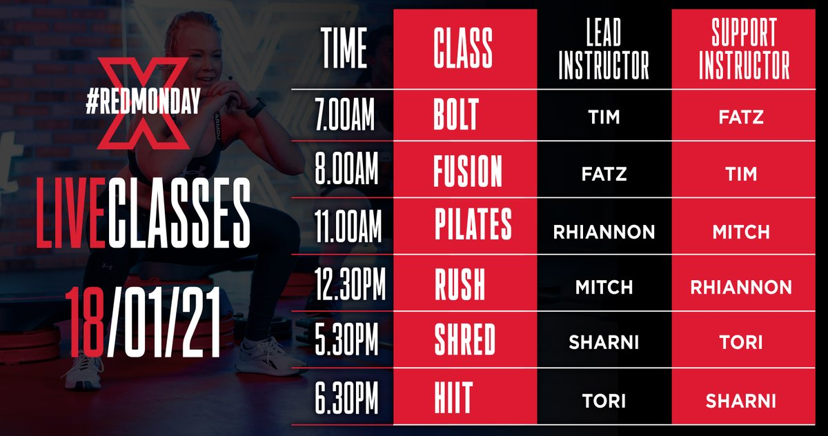 We designed a carefully curated schedule on #RedMonday to offer exactly what the mind and body crave at specific times of the day, especially while we're staying indoors. Which ones are you planning on joining on Monday? 😉 #FitXPlayer #staysafe #staystrong #stayhealthy