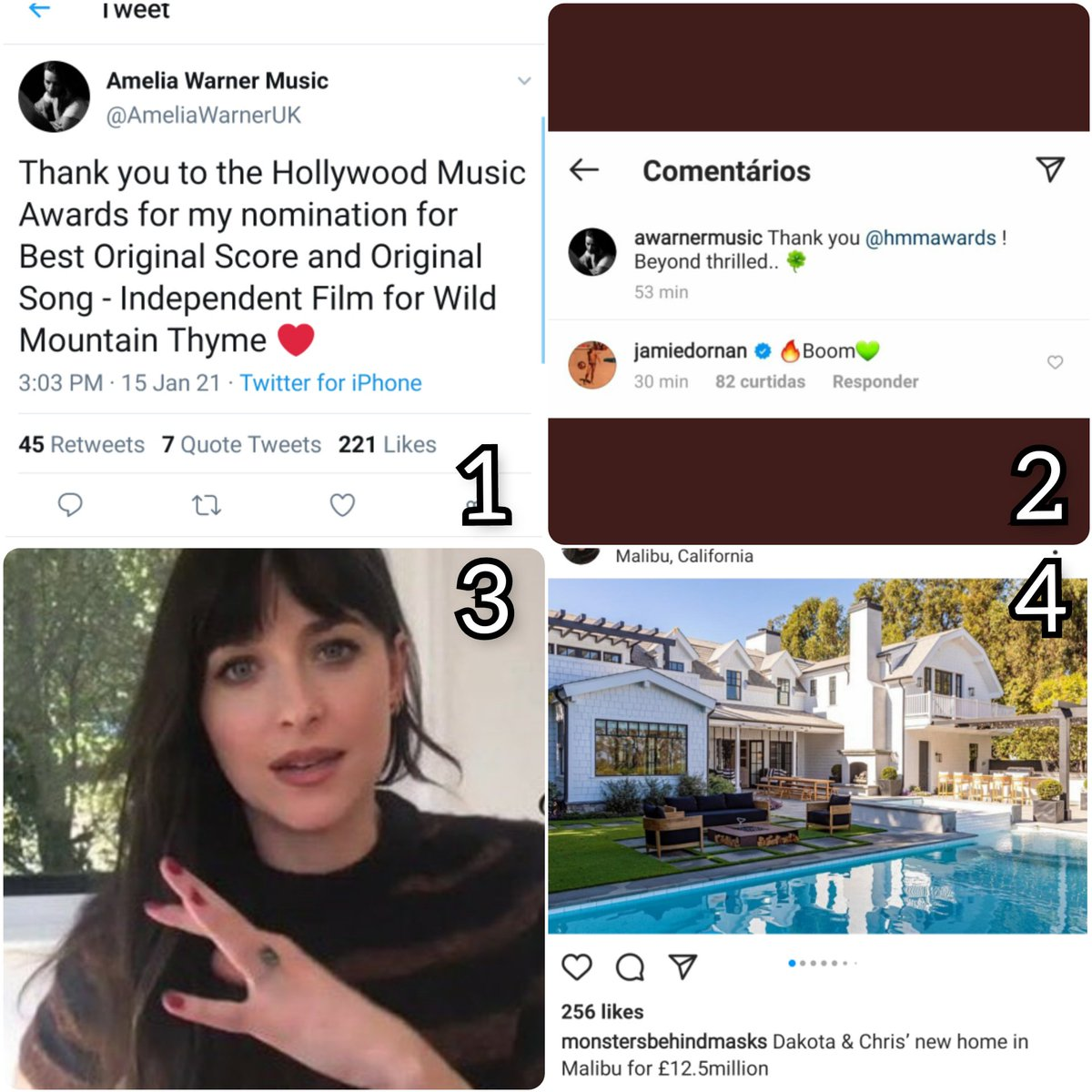 All within 24 hours: 1. Millie was nominated for two awards. 2. Jamie commented on Millie's IG post. 3. Dakota did an interview wearing her ring. 4.There's news that Dakota bought a new home with Chris.    ➡️The duhmies are shook 😂🤣  #JamieDornan #AmeliaWarner #staymad #duhmies