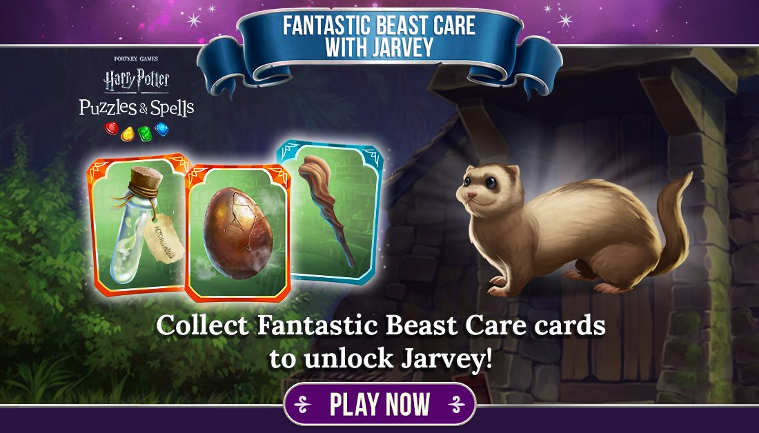 A Jarvey resembles an overgrown ferret and can talk in short phrases. Collect Fantastic Beast Care cards by opening card packs while the album is live!  Try to unlock a Jarvey NOW ➡️   #HarryPotter #PuzzlesAndSpells #FantasticBeastCare #Jarvey