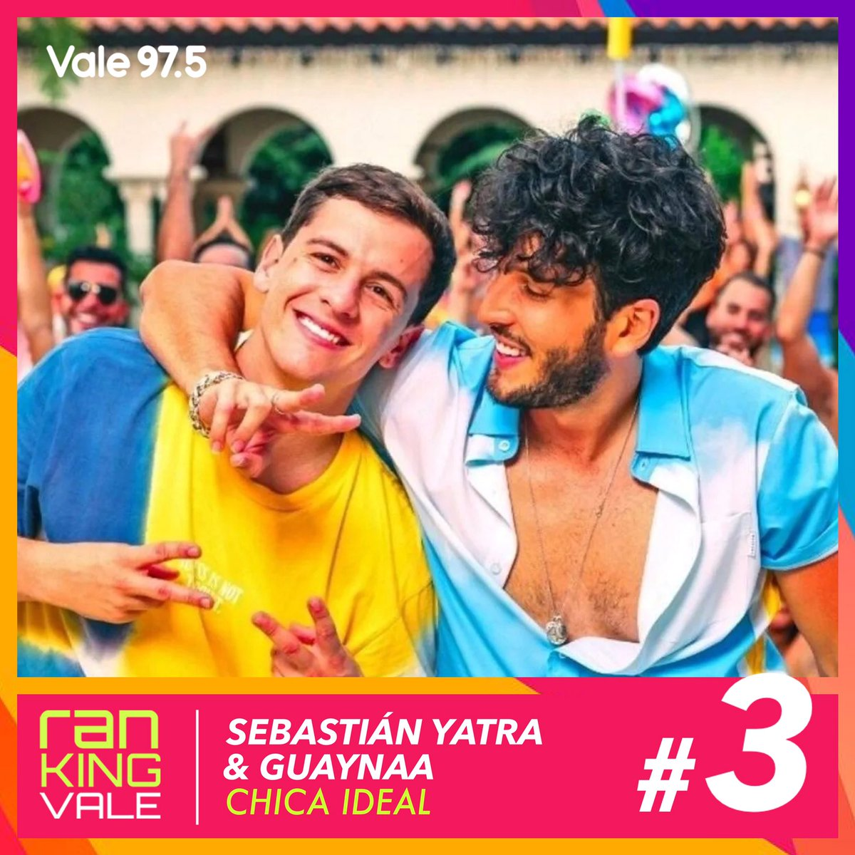 PUESTO #3 | ¡No parás de cantarla y no para de subir! @SebastianYatra & @Guaynaa_ abren el podio del #RankingVale con #ChicaIdeal 💃🏻🎶