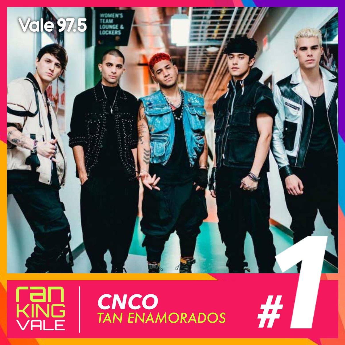 PUESTO #1 | ¡@CNCOmusic en lo más alto! Mantienen su posición con #TanEnamorados por segunda semana consecutiva, en el #RankingVale! 💥💥💥