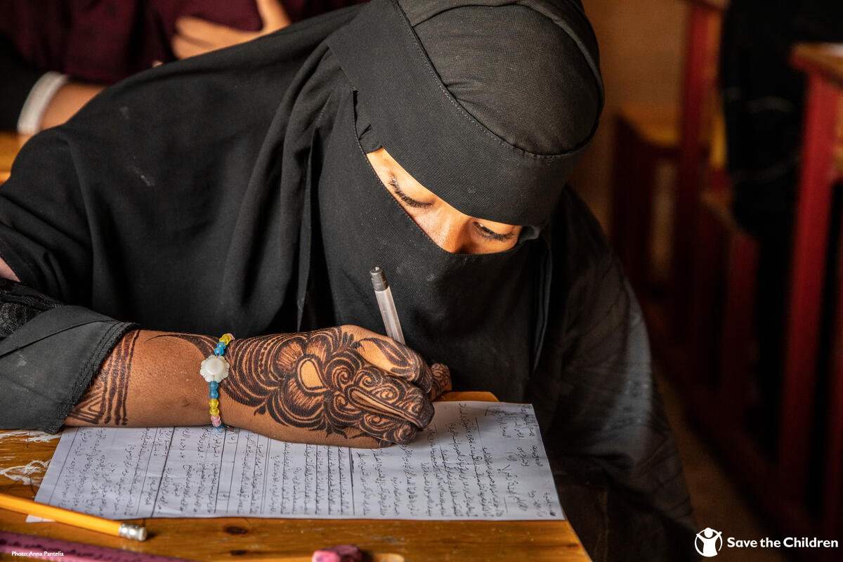 15-year-old Saada currently lives in Al Ribat displacement camp in Yemen.  Before attending Save the Children's temporary learning space, she could not read and write but with your support, we're providing education to almost 400 children in this camp.