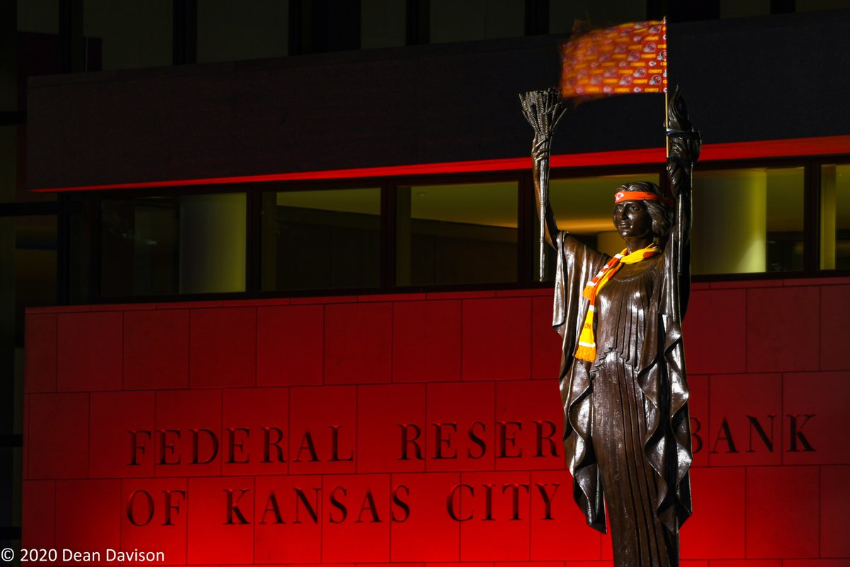 Kansas City Spirit.  The Spirit of Industry statue at the Federal Reserve Bank of KC salutes the Chiefs. Who says bankers can't have fun! #ChiefsKingdom #KCChiefs #howwedokc #NFLPlayoffs #KansasCity #Chiefs #RedFriday @federalreserve