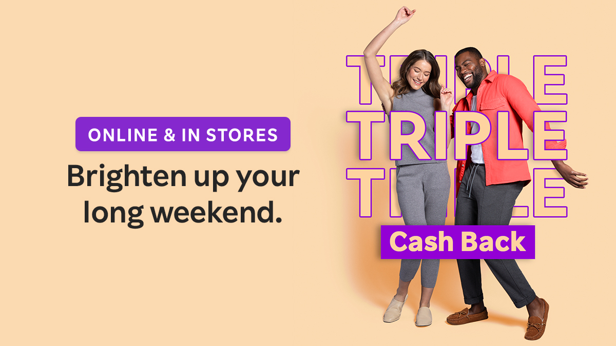 Good things come in threes! Get 3X Cash Back for 3 days at Old Navy, , Bloomingdale's and more ✨