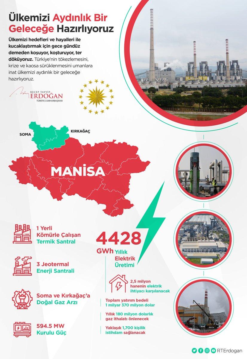 Ülkemizi hedefleri ve hayalleri ile kucaklaştırmak için gece gündüz demeden koşuyor, ter döküyoruz.   Manisa'da resmî açılışını gerçekleştirdiğimiz 4 enerji santrali ve Soma ile Kırkağaç'a sağlanacak doğal gaz arzının ülkemize, Manisalı kardeşlerime hayırlı olmasını diliyorum.