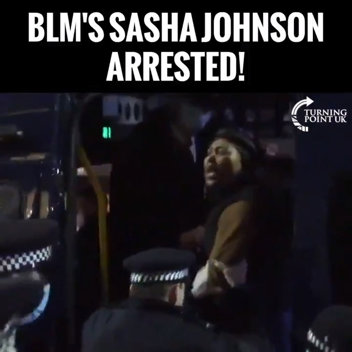 Replying to @DarrenPlymouth: BLM's Sasha Johnson arrested.