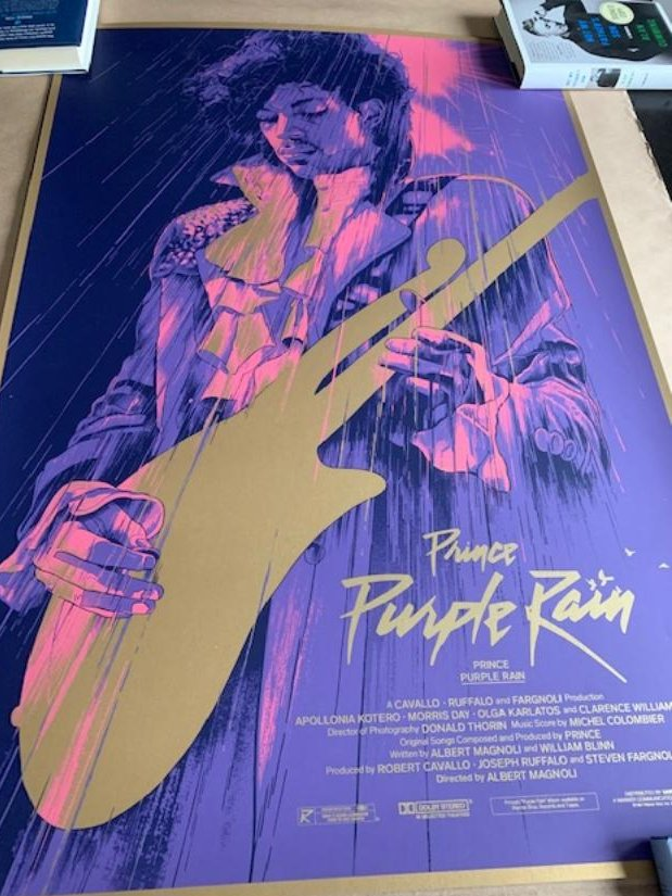 Poster grail acquired...@GabzOfficial did this incredible @prince piece for a small private commission in January of 2018. I have longed to get my hands on one ever since and today I did. Printed on gold paper and pics do not do it justice. Amazing in person! #prince #purplerain