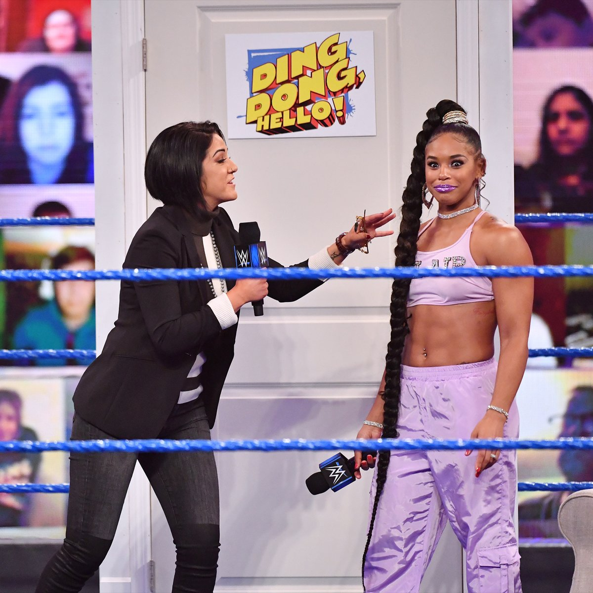 How @BiancaBelairWWE reacts when @itsBayleyWWE gets into a war of words with The EST of @WWE 🙌 https://t.co/ruW7UbCErE