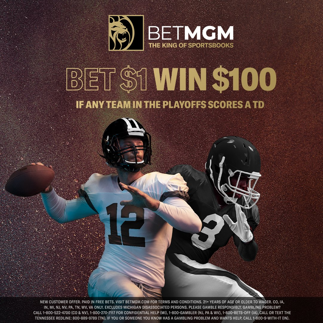 #NFLPlayoffs Sign up #Offer from @BetMGM #online #sportsbook: #Bet $1 on any team and #Win $100 if any Team in the #Playoffs Scores a #Touchdown! Paid in #free bets. Register & Bet -  #NFLTwitter #NFL #Football #BetMGM #Footballtwitter #DivisionalRound #TD