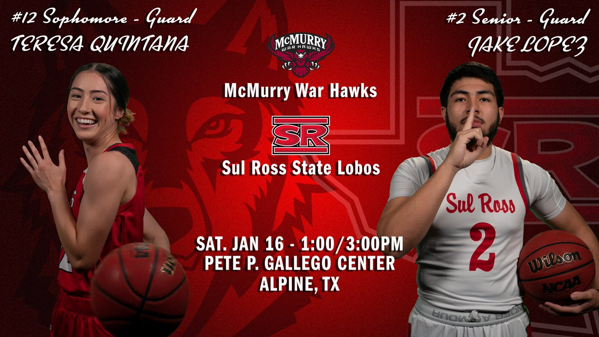 McMurry comes to town for some doubleheader basketball against the Lobos!  TIP: 1:00/3:00 p.m.  WATCH:   LIVE STATS: WB:  MB:   PROTOCOLS:   #SRSU #ASChoops #d3hoops
