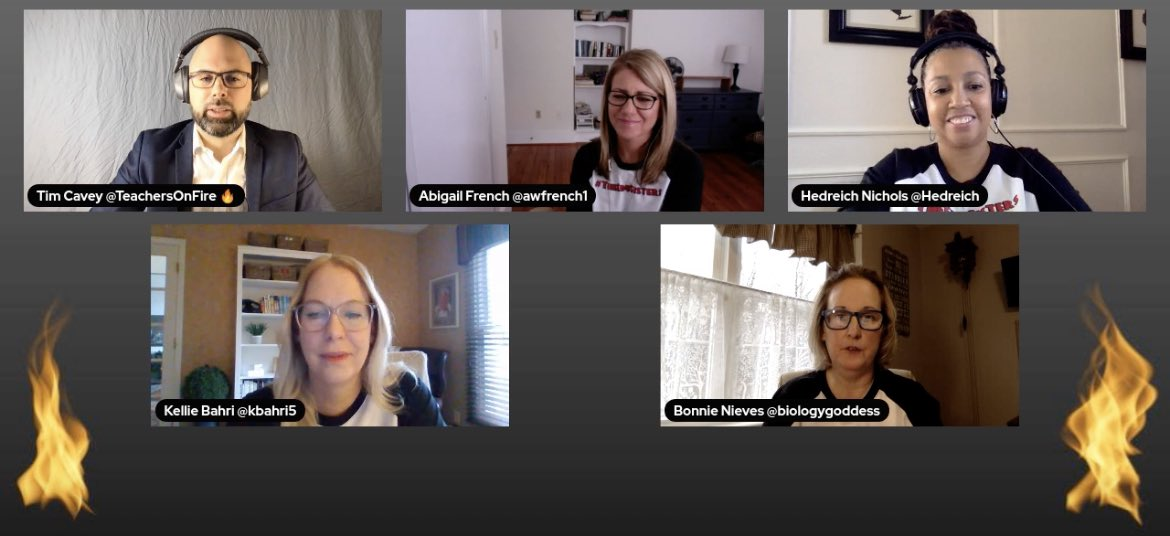 Conversation with @TeachersOnFire and #TheEdUSisters 🔥@biologygoddess @Hedreich @awfrench1 @Kbahri5 join in NOW