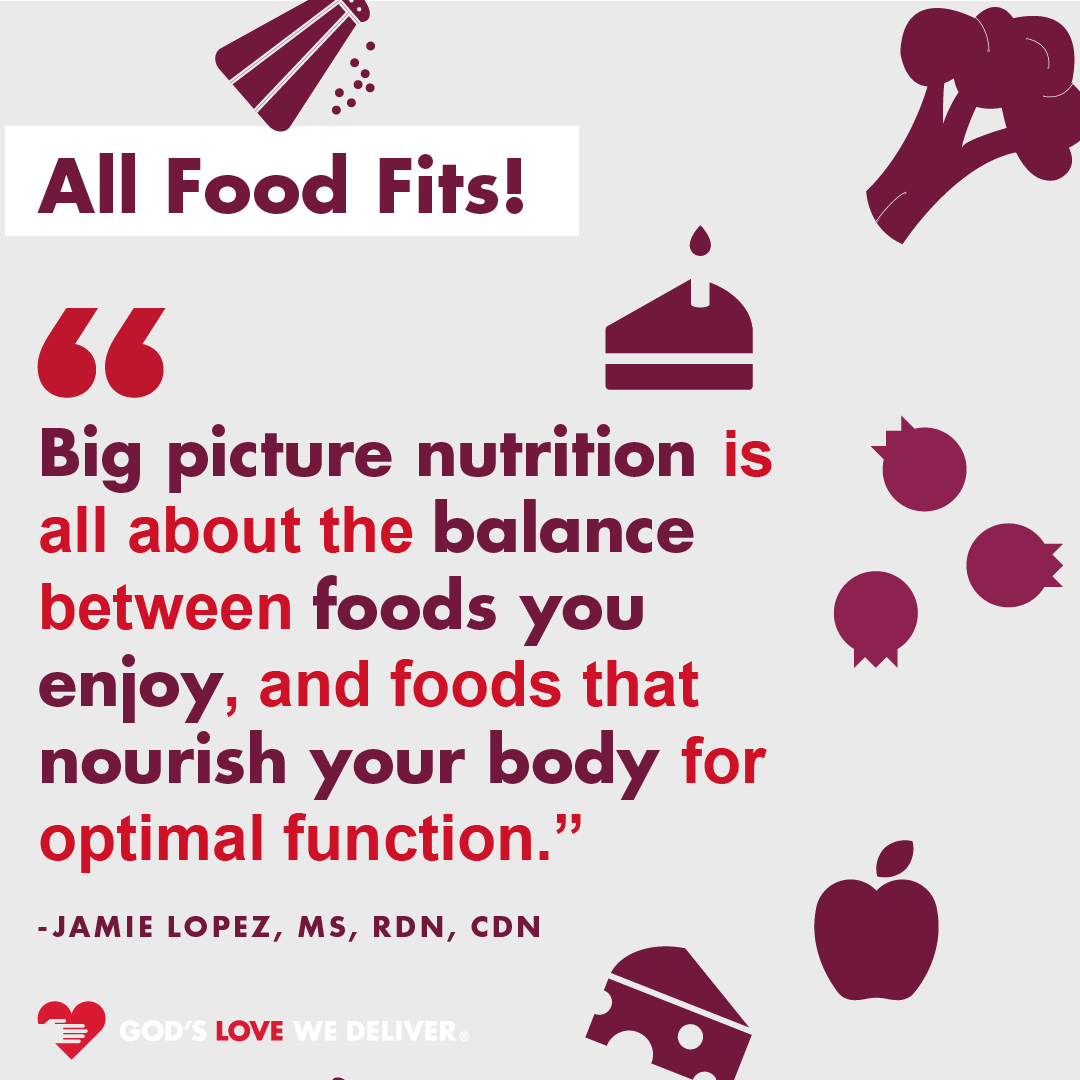 #AllFoodFits in a healthy diet! Enjoy the foods you love without feeling guilty or stressing. We'll be sharing some more information about the #AllFoodFits approach from our team of Registered Dietitian Nutritionists over the next few weekends!  Stay tuned!