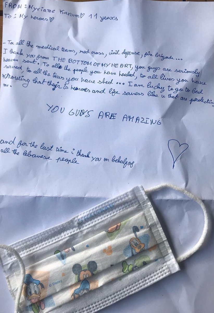 My little niece Myriame Karam, 11 years old, wrote this letter to the heroes of the medical teams, the @RedCrossLebanon , the @CivilDefenseLB & the fire brigade. She speaks for each & everyone of us. Some voices remain whispers & others need to go loud. #coronavirus #Lebanon https://t.co/uWMlOv9Jxw