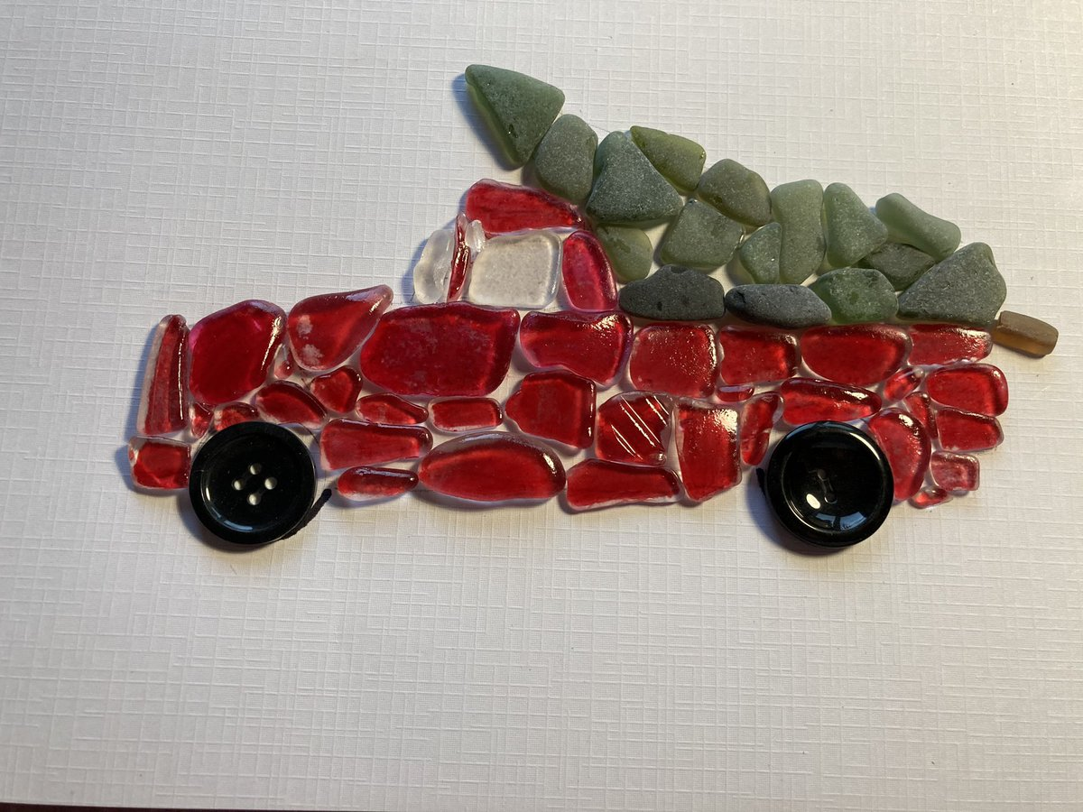 This is a strange one.. never been asked to colour the seaglass but this customer is obsessed with this image of a vintage truck with tree.. #christmas in #January .. what else would I be doing anyway #home #crafturday