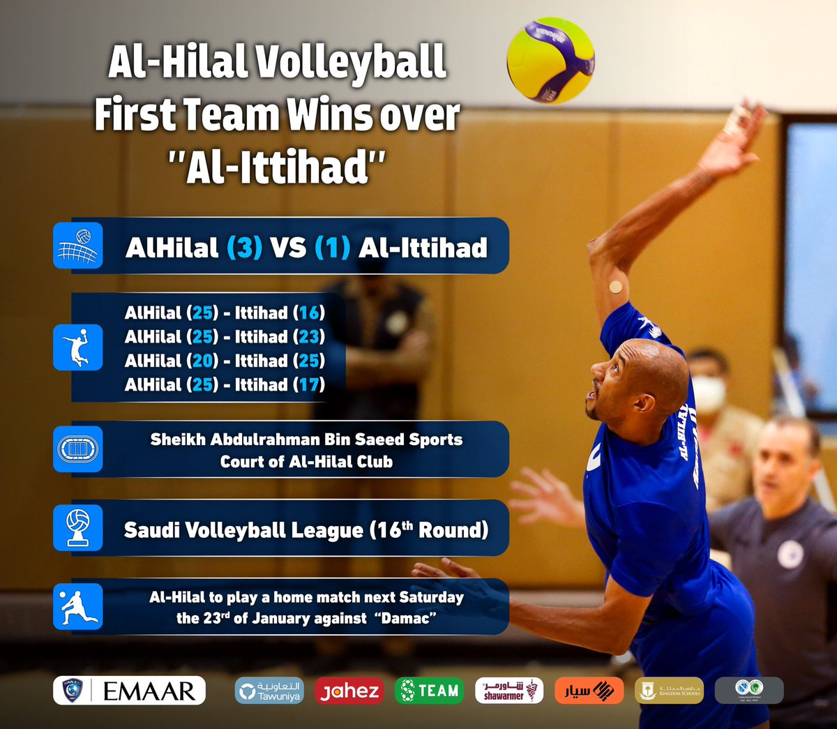 "📄 #AlHilal Volleyball First Team Wins over ""Al-Ittihad"", and Continues on Top of the League👏🏻🏐  #AlHilal_Infographic 💙"